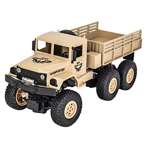 SUNFANY Remote Control Cars Q69 1: 18 2.4G Remote Control 4Wd Tracked Off-Road Military Truck Car RTR High Speed 10Km/H Racing RC Cars Off Road for Kids & Adults, 2019 Version - Gelb