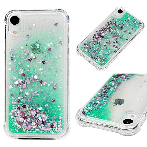 iPhone Xr Case, Mavis's Diary Bling Glitter Sparkle Flowing Liquid Quicksand Moving Sequins Protective Soft TPU Rubber Cover for iPhone Xr 2018 - Green