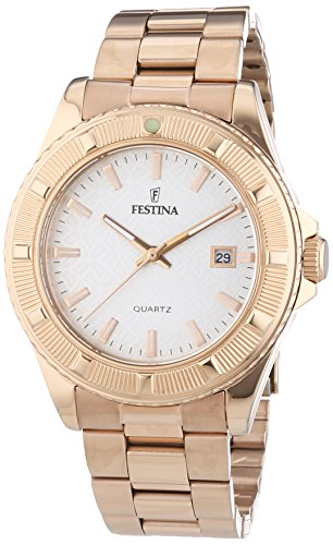 Festina-F16788/1 Women's Quartz Analogue Watch-Stainless Steel Strap Golden and Pink