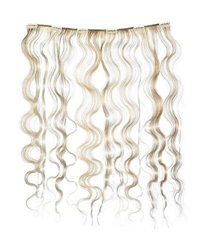 American Dream - A4/QFC12/18/22/27 - 100 % Cheveux Naturels - Douce Ondultation - Pièce Unique Extensions à Clipper - Couleur 22/27 - Blond Plage / Blond Riche - 46 cm