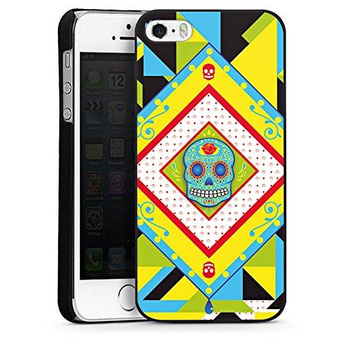 Apple iPhone 6 Housse Étui Silicone Coque Protection Tête de mort Maya couleur Motif CasDur noir