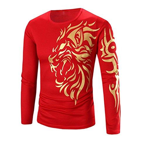 Camiseta Hombres,Xinan Moda Ropa Hombre de Manga Larga Camisetas (2XL, Rojo)