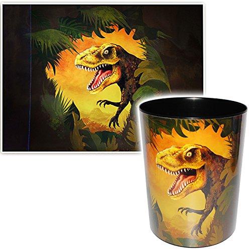 alles-meine.de GmbH 2 TLG. Set _ Schreibtischunterlage & Papierkorb -  Dinosaurier - Tyrannosaurus Rex  - Schreibtischset - aus Kunststoff - Mülleimer / Eimer - Tischunterlage ..