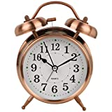 #3: Big Size Quartz Twin Bell Alarm Clock with LED Light, Copper - Gifts Byte
