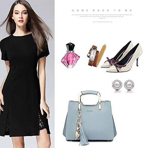 Yoome frizione con nappe Tote borse eleganti borse per fascino borse casual per donne Crossbody - Borgogna Nero