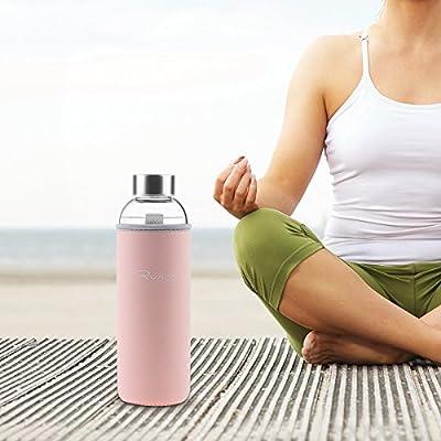 Ryaco Glasflasche Trinkflasche Classic 550ml BPA-frei Glasflasche für Unterwegs Sport Flasche Glas Flasche Water Bottle Wasserflasche Trinkflasche aus Glas zum Mitnehmen heiß kalt Getränke