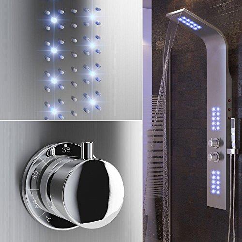 Thermostatische Duschpaneel, Duschpaneel, lila LED-Licht, Massage-Jet, mit Regendusche