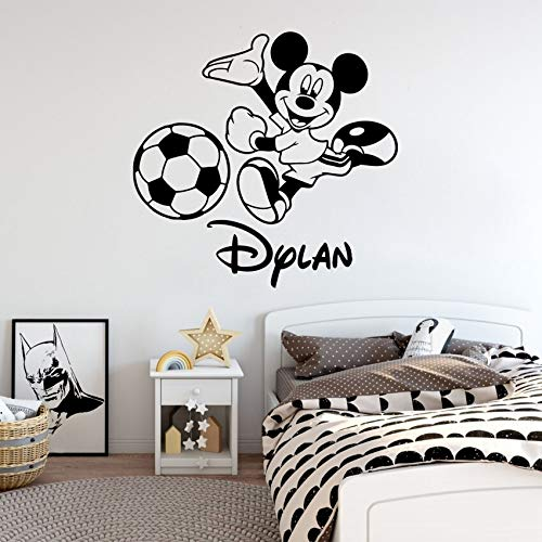 Benutzerdefinierte Name American Cartoon Movie Nette Maus Wandtattoo Fußball Personalisierte Cartoon Vinyl Aufkleber Poster Kindergarten Baby Kinder Kunst Decor Wandbild 84 * 86 cm (Frühlings-kunst-projekte Für Kinder)