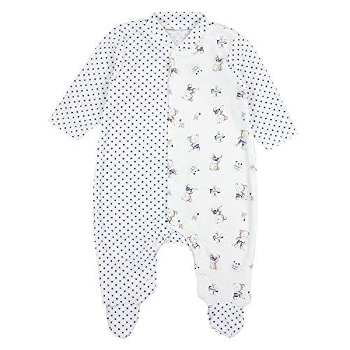 TupTam Baby Unisex Schlafstrampler mit Fuß Gemustert, Farbe: Bärchen/Sterne Dunkelblau, Größe: 62