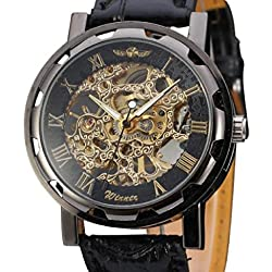 Mallom Classic Men's Black Leather Dial Skeleton Mechanical Sport Army Wrist Watch
