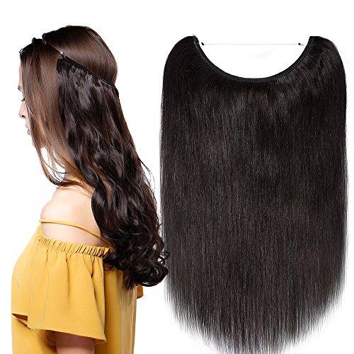 Extension capelli veri con filo trasparente fascia unica no clip wire in 100% remy human hair lunga 40cm pesa 60g, 1b nero naturale