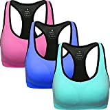 ANGOOL Damen Komfort Klassische Racerback Sport BH Top Fuer Yoga Fitness-Training(L,Rosa+blau+azurblau)