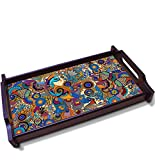Kolorobia Fascinating Peacock Illustration Wooden Tray (Large)