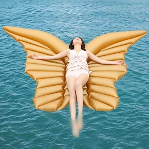 engelsflügel aufblasbare Pool schwimmende luftmatratze faul Wasser Party Spielzeug reiten Schmetterling Schwimmen Ring, GELB ()