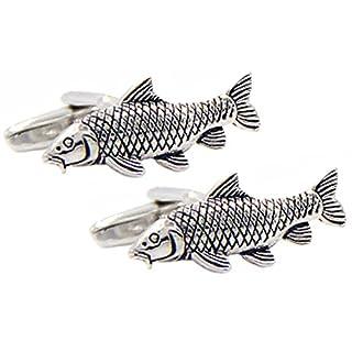 Cufflinks Direct 3D Silver Carp Fishing Fisherman Angler Cufflinks (Cufflinks with Gift Box)