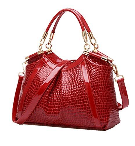 Yan Show Damen Schulter Beutel Krokodil Muster Lackleder Handtaschen /Rot
