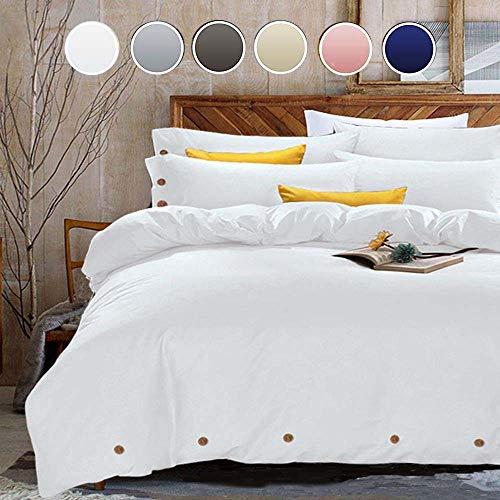 Weiß Bettbezug Set Full Queen-Luxus Mikrofaser Tröster Set Bettwäsche Cover-Beste für Damen und Herren, Mikrofaser, weiß, King Size (Weiß Tröster Set King)