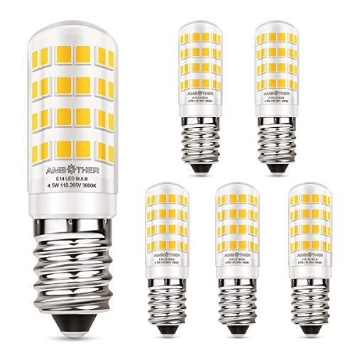 AMBOTHER E14 LED Lampen 4,5W/400LM Glühbirnen statt 50W Halogenlampe LED Glühlampe mit 52 Leuchtmittel Warmweiß 3000K 360° Lichtwinkel Energiesparlampe für Kühlschrank Kronleuchte Wandlampe, 5er Pack -