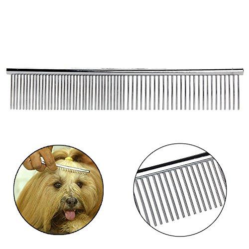 Bestwe Hund Kamm, Metall Haustier Pflege Kamm Feine und Grobe Zinken Rostfreier Stahl Kamm - 2