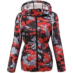 Parabler - Abrigo Impermeable - para Mujer Rojo EU 36/Small