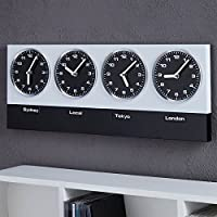 """MODERN WALL CLOCK """"GLOBAL"""" with 4 clockworks and magnets silver black from Xtradefactory"""