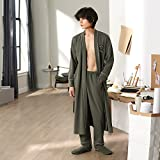 Mangeoo Bathrobes, Men'S Spring, Autumn, Long Sleeves, Pure Cotton, Japanese Bathrobes, Men'S Pajamas, Large Yards, Youth Home Suite.