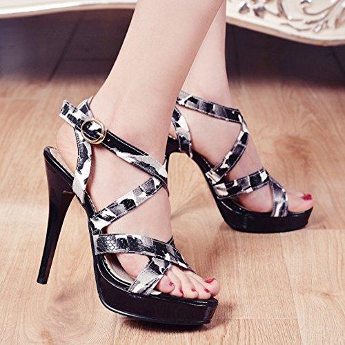 TAOFFEN Mode Femmes Aiguille Sandales Bout Ouvert Talons Hauts Plateforme Ete Chaussures Noir