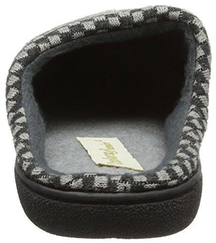 Microsuède pour homme à enfiler Mules/pantoufles avec doublure en micro polaire et carreaux design Gris
