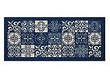 BIANCHERIAWEB Tappeto con Retro Antiscivolo da Cucina Disegno Maiolica By Suardi 55x115 Blu