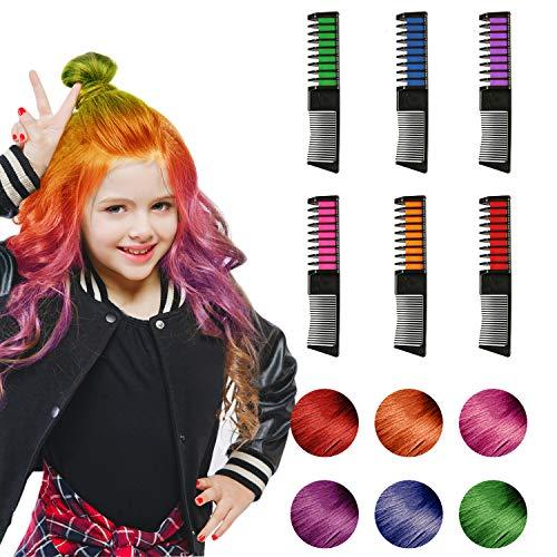 WOSTOO Haarkreide, Temporär Haarfarbe Kreide Kamm, Haarkreide Auswaschbar Haar Colorationen Ungiftig Haarfarbe mit Handschuhe und Schal für Kinder Party und Cospla