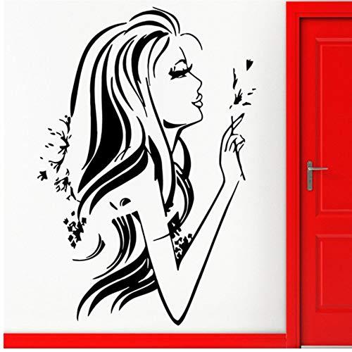 Lovemq Wandaufkleber 47 * 57 Cm Hot Fashion Girl Wandtattoos Hübsche Frau Mit Blume Weibliche Kunst Vinyl Wandaufkleber Home Schlafzimmer Schöne Decor - Großhandel Girls Fashion