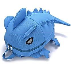 Monstruo dinosaurio niños niños niñas mochila Cartoon mochila hombro bolso de escuela, azul