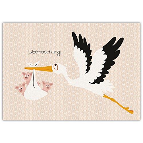 Lustige Anzeigenkarte zur Geburt eines Babys, Zwillingen oder Drillingen mit Storch und Schweinchen: Überraschung!