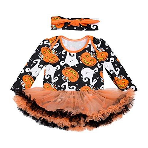 Zhhlaixing Halloween-Kürbis-Printed-Kostüm Tutu-Rock Baumwolle Atmungsaktiv Rüschen Spielanzug für Säuglingsbaby Mädchen