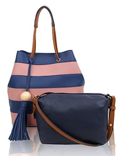 Swankyswans Damen Lola Stripe 2 in 1 Tote Bag, Pink, 12x33x24 centimeters (Handtasche Stripe Tote Pink)