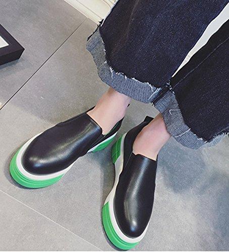 Damen Slipper mit dicken Sohlen Bequeme Anti-Rutsch Fashion Flache Leichtgewicht Lässige Damen Freizeit Halbschuhe Schwarz