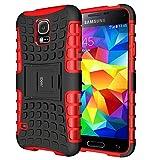 Cover Galaxy S5,Shock-Absorption Bumper,Protettiva Stand Case,Copertura Protettiva in Plastica e TPU Custodia per Galaxy S5 / Neo rosso