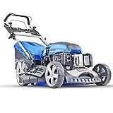 Hyundai 196 cc Self Propelled Electric Push Button Start Petrol Lawn Mower, Blue, 51cm Cut Start & Pull HYM510SPE