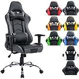 CLP Silla de oficina XXL MIRACLE, silla gaming tapizada en piel sintética, regulable en altura entre los 48 - 58 cm, respaldo reclinable y con diseño deportivo, capacidad hasta 150Kg negro/gris