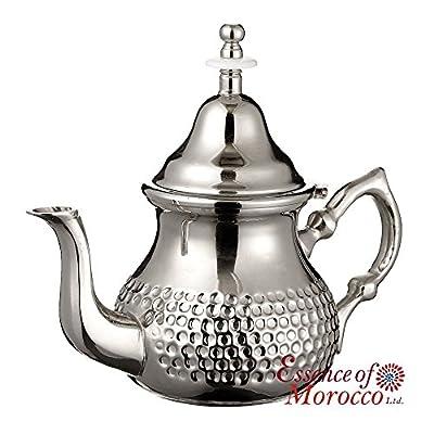 Théière Marocaine Argentée en Maillechort. MOYENNE (3-4 Personnes). Martelée Main. Design Classique Marocain