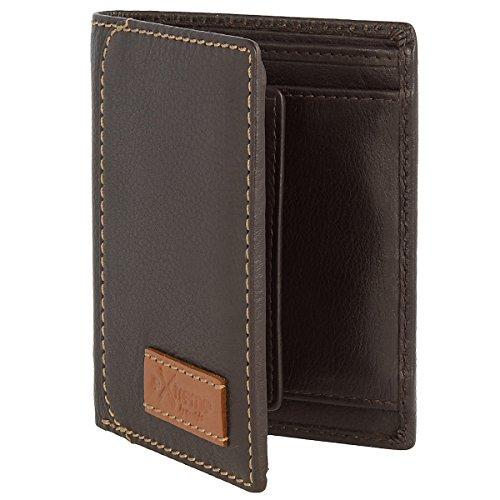 Original Monte Lovis - Echt Leder Geldbörse Herren Portemonnaie Geldbeutel mit vielen Taschen und Kartenfächern (Dunkelbraun) Dunkelbraun