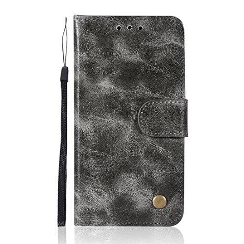 Chreey Samsung Galaxy S5 Hülle, Premium Handyhülle Tasche Leder Flip Case Brieftasche Etui Schutzhülle Ledertasche, Grau