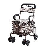 XMGJ Valises et Trolleys Old Man Shopping Cart Pliant Peut Pousser Les Personnes âgées Walker pour Acheter Panier de Nourriture Multi-Fonction siège Walker Panier (Poids 150KG) Articles de Voyage