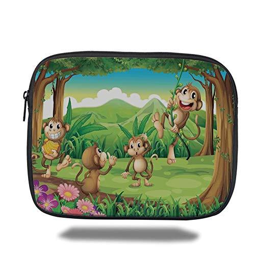 Tablet Bag for Ipad air 2/3/4/mini 9.7 inch,Tropical Animals,Digital Dot Featured Monkey Face Portrait Little Geometrical Rounds Print,Tan Brown,3D Print Tan Animal-print