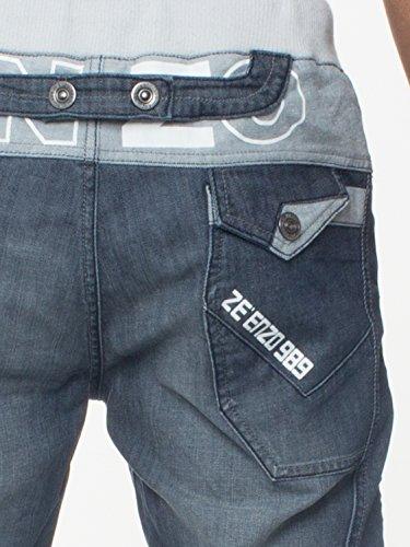 Enzo Herren schwarz beschichtet mit Manschetten Leg Jeans Hose elastischer Bund dunkel steinwäsche