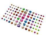 91 pegatinas adhesivas de estrás con piedras preciosas para adornar las uñas, maquillaje, festival, carnaval, 5 mm, 8 mm, 10 mm, 12 mm, 4 tamaños (colores surtidos)