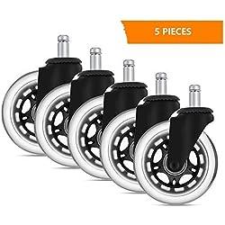 GHB 5PCS Roulettes Chaise Bureau Roulement Silencieux et Résistantes à l'Abrasion Dimension 11mm