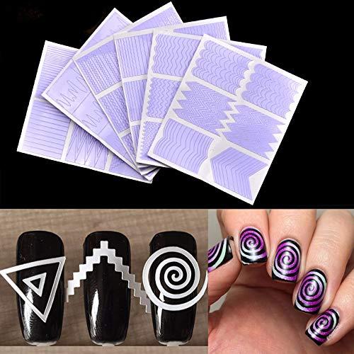 LXYQW Nail sticker 12 Teile/Satz Nail Art Guide Tipps Hohl Schablonen Aufkleber Französisch Maniküre Vorlage 3D Vinyls Decals Form Styling Werkzeug -