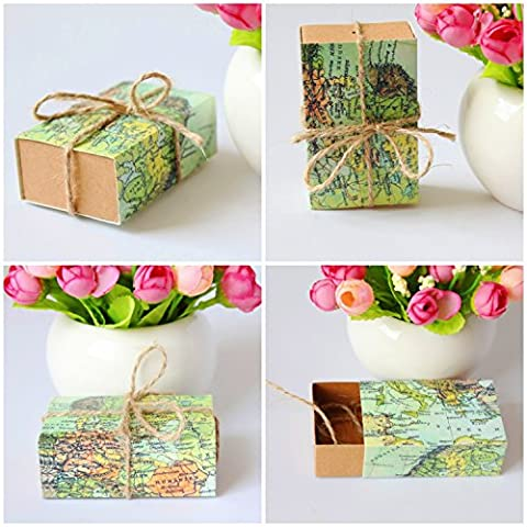 JZK® 50 x Favours boxes for wedding birthday baby shower Holy communion graduation party Christmas or various occasions, ideal for candies, chocolates, small gifts and jewelry, etc. (map,