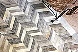 Bunkar:Indischen Handgearbeitet Designer 100% Leder Kuhfell Teppiche - Farbe Grau - Stil CHEVRON - Größe - 45cms x 75cms Mat Rug